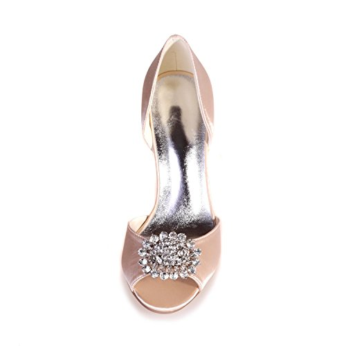Toe L Rhinestone Shoes YC Satin 15 Night Night Peep amp; Blue 5623 Platform Wedding Woman's AwrzqnA1