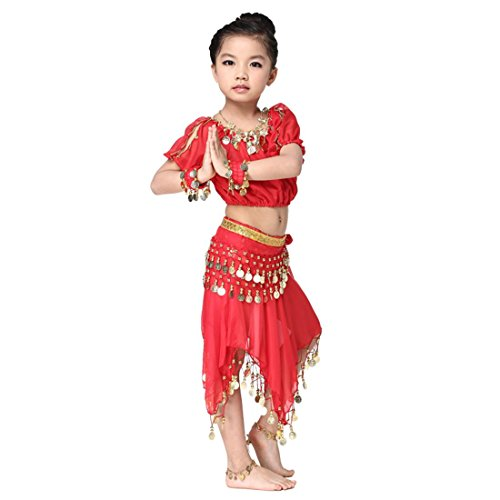 Free Size Kids Belly Dance Costumes Dress Set with Gold Coins Waist Chain