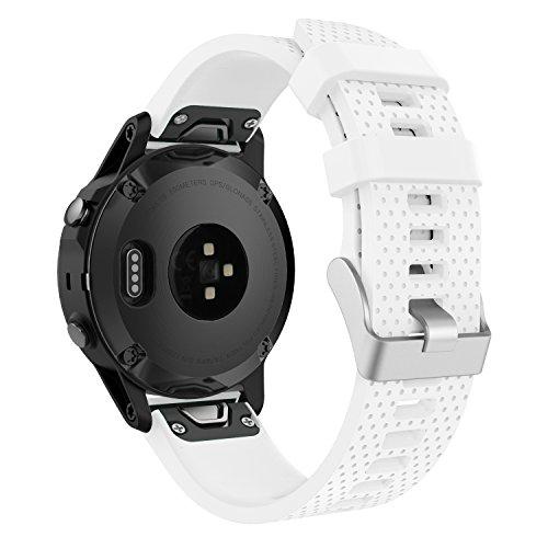 MoKo Garmin Fenix 5S Watch Band, Soft Silicone Replacement Watch Band Strap for Garmin Fenix 5S Plus, 5S Multisport 42mm GPS Smart Watch, Fit 5.31-8.46, (NOT FIT Fenix 5 5X), White