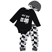 Newborn Baby Boy Jumpsuit Babysuit Romper+ Long Pants+Hat Outfit Summer Set (0-3 Months, Black)