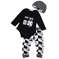 Newborn Baby Boy Jumpsuit Babysuit Romper+ Long Pants+Hat Outfit Summer Set (...