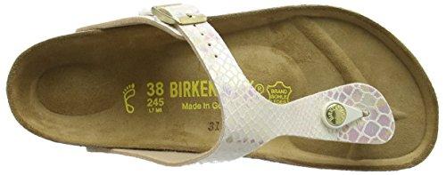 Birkenstock - Gizeh, Sandalia con Pulsera Mujer Beige (Shiny Snake Cream)