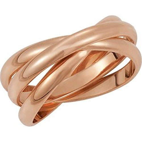 18K Rose Gold 3-band Rolling Ring, Size: 7