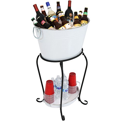 Holiday Ice Bucket - Sunnydaze Large Ice Bucket Beverage Holder with Stand and Tray for Parties, White Finish, Holds Beer, Wine, Champagne and More