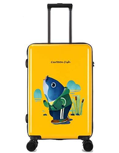 ShiMin ユニバーサルホイールトロリーケースラゲッジスモールフレッシュ24インチスーツケース (Color : Yellow) B07MSDL438 Yellow