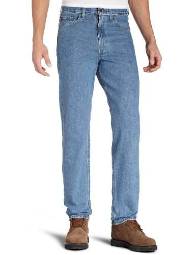Rodeo Denim Pants - Carhartt Men's Relaxed Fit Five Pocket Tapered Leg Jean B17,Stonewash,35 x 30
