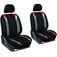 Motorup America Auto Seat Cover 6pc Set - Fits Select Vehicles Car Truck Van SUV - Red, Gray & Black