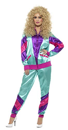 Smiffys Women's 80s Height of Fashion Shell Suit Costume, Female, Green/Purple, Large