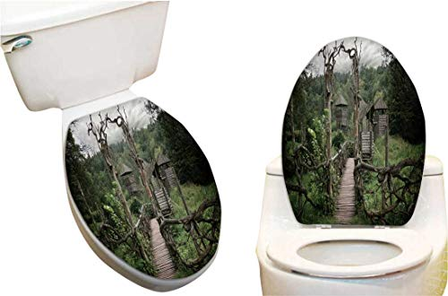 Vinyl Toilet Set Cover Paper Decor for Medieval Wooden Fortification Fashion Toilet Seat Sticker Vinyl Art6 x7.5