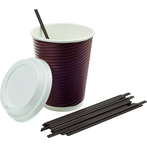 Disposable Coffee Cups 12 oz with Lids (Set of 60), Bonus Sip Stirrers (70 Count) for Tea, Cocoa Chocolate - Ripple Non Slip Grip, Insulated To Go Travel Cup, Hot or Cold, No Sleeves Needed (Wine Red)