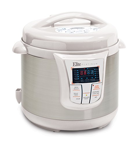 Elite Platinum 8 Quart 14-in-1 Multi-Use Programmable Inducement Cooker, Slow Cooker, Rice Cooker, Sauté, and Warmer - White