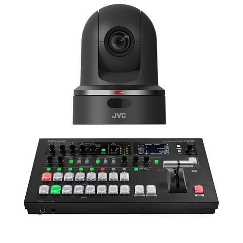 JVC KY-PZ100 2.13MP Robotic PTZ Network Video Production Camera, 30x Optical Zoom, with Medium Package Roland V-60HD Multi-Format HD Video Switcher ()