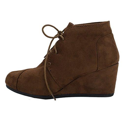 Hoge Sneakers Voor Dames, Sleehak Veterboots Snj Schoenen Bruin-01