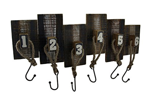 - Zeckos Numbered Wood and Metal Weathered Finish Wall Hook