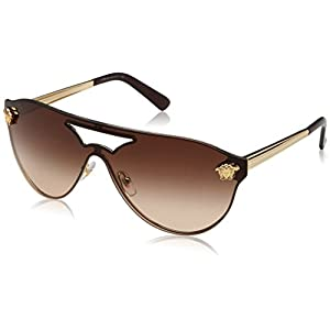 Versace Womens Sunglasses Gold/Brown Metal - Non-Polarized - 40mm