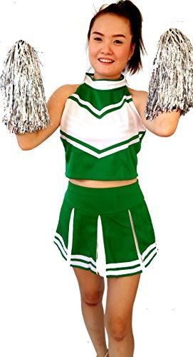 Women Cheerleader Cheerleading Outfit Uniform Costume Cosplay Green/White