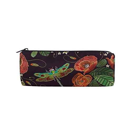 AHOMY Poppy Dragonfly Embroidery Round Pencil Case Stationery Bag Zipper Pouch Pencil (Poppy Stationery)