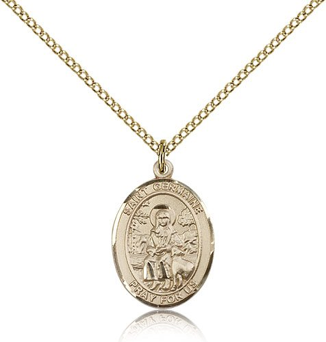 Bonyak Jewelry Gold Filled St. Germaine Cousin Pendant 3/4 x 1/2 inches with Gold Filled Lite Curb Chain ()