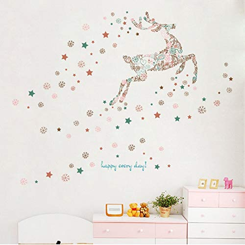 HYXLN Snowflake Deer Cartoon Wall Sticker PVC Glass Window Home Decoration Sticker Mural for Kids Room Self-Adhesive Wall Decal