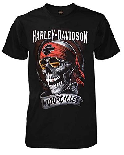 Harley-Davidson Men's Distressed Shady Skull Short Sleeve T-Shirt, Black (L)