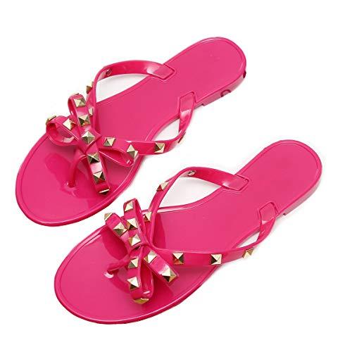 - DeerYou Womens Jelly Flip Flops Summer Beach Rivets Bow Thong Sandal Flat Rain Shoes Pink