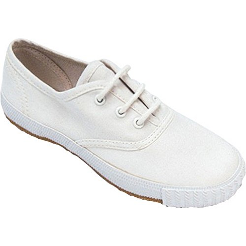 Morris Bianco Lace Plimsoll Tessile med Sneaker Scarpa Ragazze up Mirak 856wq8f