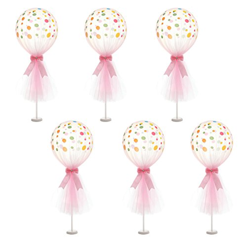 Suppromo 12 inch Party Latex Polka Dot Balloons Tutu Tulle Balloons With Column Base Kit for Baby Shower Birthday Wedding Party Decoration(Pink Tulle Balloon, 6 Pack)