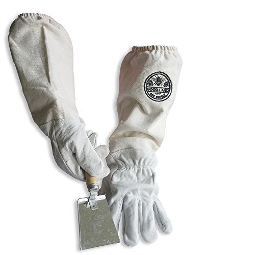 Goodland Bee Supply Natural Cotton and Sheepskin Beekeeping Gloves & Honey Comb Shovel Hive Tool (XX-Large)