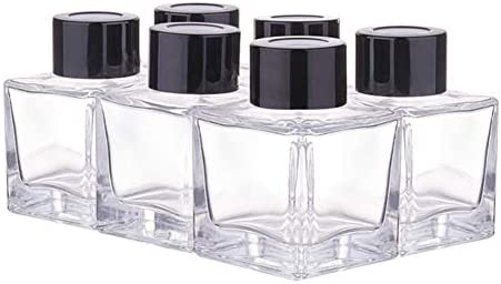 BENECREAT 6 Pack 50ml Botellas de Difusor de Vidrio con Tapa Negra Contenedor Rectángulo de Cristal de Difusor con Tapón Plástico a Prueba de Fugas para Perfume y Aceite Esencial: Amazon.es: Hogar
