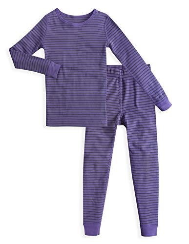 - Skylar Luna Baby Girls Long Sleeves Organic Cotton Pajamas- Sizes 12 to 18 Months - Lavender/Gray