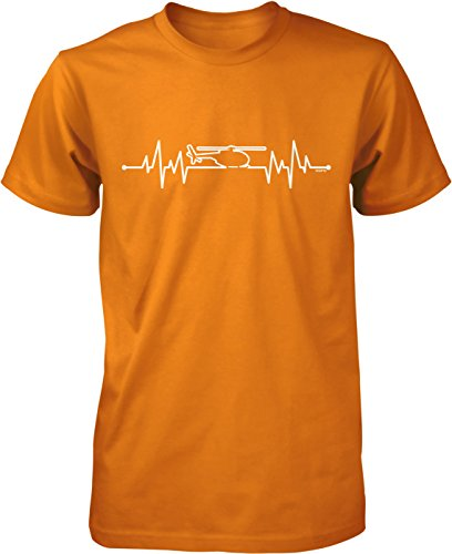 NOFO Clothing Co Helicopter Heartbeat Men's T-Shirt, XXL Orange ()