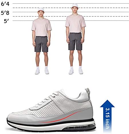 41EeQ3ChJtL. AC GOLDMoral Air Cushion Increasing Shoes for Men White Sneakers That Make You 8CM / 3.15 Inches Taller    Height Increase: 8CM / 3.15 InchesUpper Material: Calfskin LeatherLining Material: Genuine LeatherColor Selection: WhiteSeason: Spring,Summer,Autumn,Winter