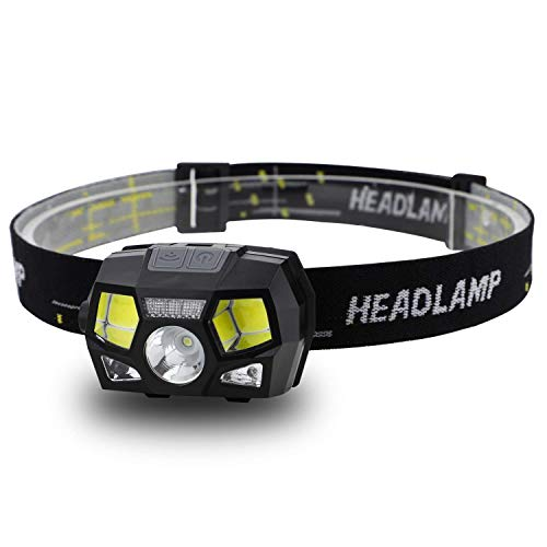 - LED Headlamp Flashlight 280 Lumen Head Lamps Torch, USB Rechargeable Waterproof Headlamps with Focus for Camping, Hiking,Outdoor & Indoor,6 Lightning Modes, White/Red LEDs and Sensor Switch