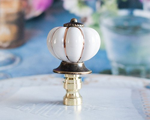 One of White Scallop Porcelain Lamp Shade Finial, Harp Topper