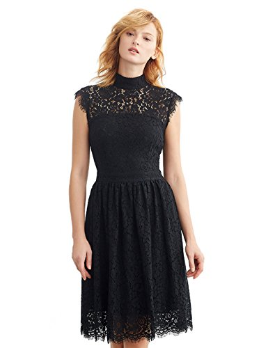 Simple Retro Women's 1950s Mock Neck Cap Sleeve Lace Vintage Cocktail Dress (L, Black)
