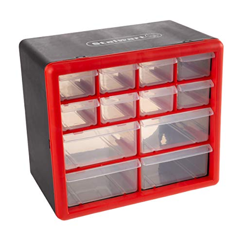 Stalwart – 75-ST6067 Storage Drawers-12 Compartment Organizer Desktop or Wall Mount Container- 4 Large and 8 Small Bins…