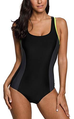 (belamo Racerback one Piece Swimsuit Training Sport Swimwear for Women Black XL)