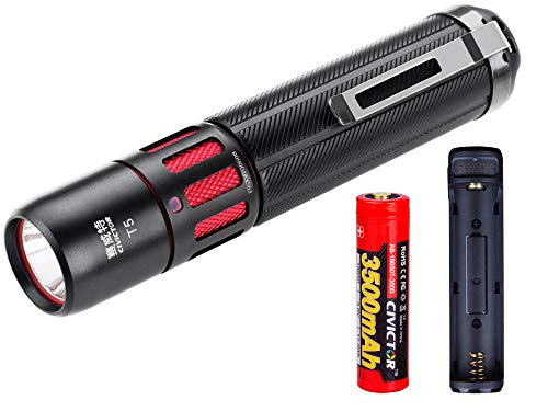 Small Tactical Flashlight Rechargeable Super Bright CREE Led Flashlight 1000 Lumens High 18650 CR123A Battery Power USB Charger Pocket EDC Mini Torch Light Kit Waterproof 1 inch Camping Lantern Clip