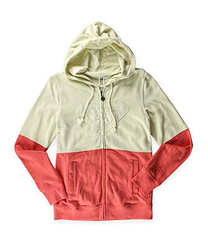 Roxy Juniors Four Square Heart Zip Up Hoodie-Pink/Cream-Small (Hoodie Womens Cream)