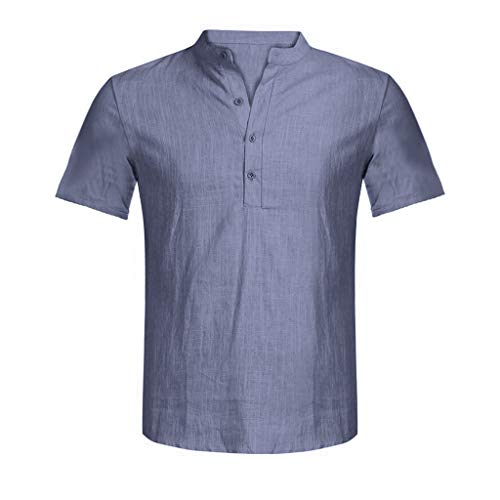 Men's Casual Loose Fit Shirts Cotton Linen Pure Color Short Sleeve Henley Fashion T-Shirts Tee Gray