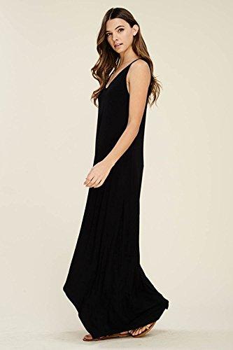 Dress NASKY Femme Boheme Maxi Noir Robe Plisse avec Ete Casual Robe Longue Chic sans Poches Maxi Manches 1gpFW1Or