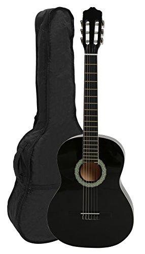 NAVARRA Konzertgitarre 4/4 schwarz mit cremefarbigen Randeinlagen und leicht gepolsterter Tasche mit Rucksackriemen und Notenfach, 2 Plektren