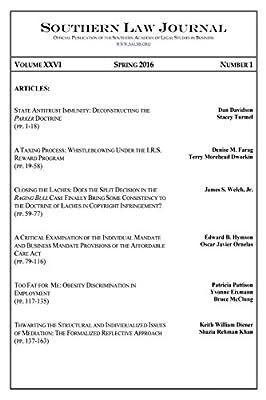 Southern Law Journal, Vol. XXVI, No. 1, Spring 2016