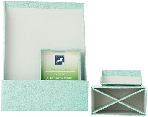 (Aurora GB PROformance Desk Accessories Kit, Letter and Memo Trays with Paper, Business Card Holder and Pencil Cup, Turquoise, Mallory Embossed (AUA13002))
