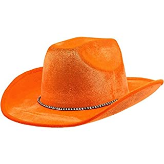 Orange Velour Cowboy Hat, Party Accessory