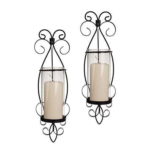 Danya B San Remo Wall Candle Sconce Set with Glass Hurricanes - Wrought Iron - Set of 2- Easy to Hang - Contemporary Home Décor (Sconces Contemporary Candle)