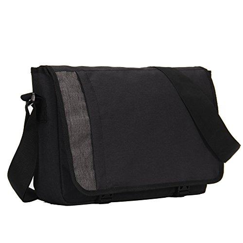 Hynes Eagle Laptop Messenger Bag for 15 inch, Black Gray (Campus Messenger)