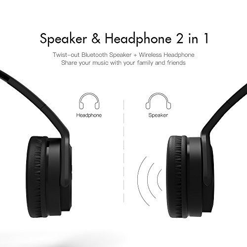 VEENAX HS3 Bluetooth Over Ear Headphones & Wearable Speaker, Wireless Foldable Headset with Microphone, Stereo and Bass, Portable Neckband Speaker for iPhone iPad Samsung Phones Computer MP3, Black