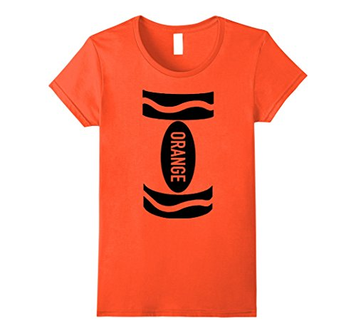 Womens Clever ORANGE CRAYON Halloween Costume For Children & Adults Large Orange (Clever And Simple Halloween Costumes)
