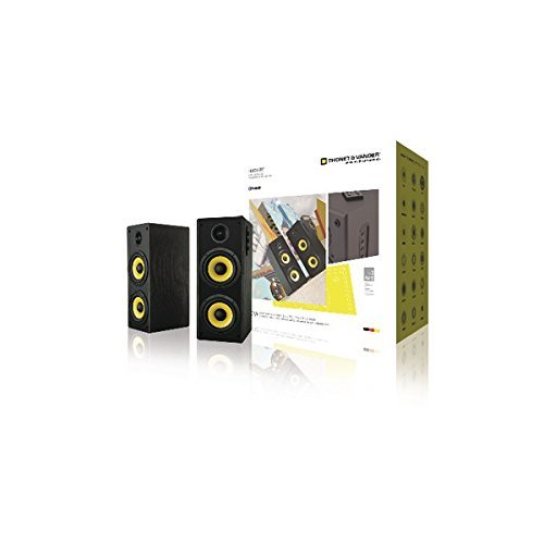 Thonet and Vander Hoch Bt - 350 Watts Wood Hi-Fi Bluetooth 4 0 Speakers  with Integrated Amplifier, 3 5mm and RCA Stereo Input, , 1 Pair, Black